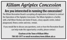 Are you interested in running the Killam Agriplex Concession?