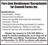 Part-time Bookkeeper/Receptionist for Connell Farms