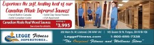 Experience the soft, healing heat of our Canadian made infrared saunas at Legge Fitness