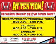 Did You Know about Listowel Honda's NEW Service Hours?