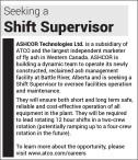 Seeking a Shift Supervisor