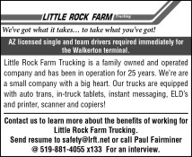AZ licensed single and team drivers required immediately for the Walkerton terminal.
