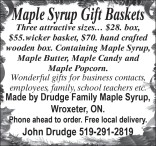 Maple Syrup Gift Baskets at Drudge Family Farm
